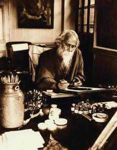 Rabindranath tagore at his painting desk, Government School of Art, Calcutta 1932