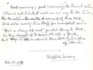 Siegfried Sassoon manuscript - 'The General'